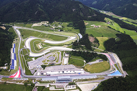 Luftansicht des Red Bull Rings in Spielberg